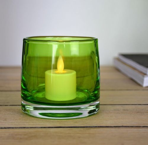 Tea Light Holder & Luminara Set Green